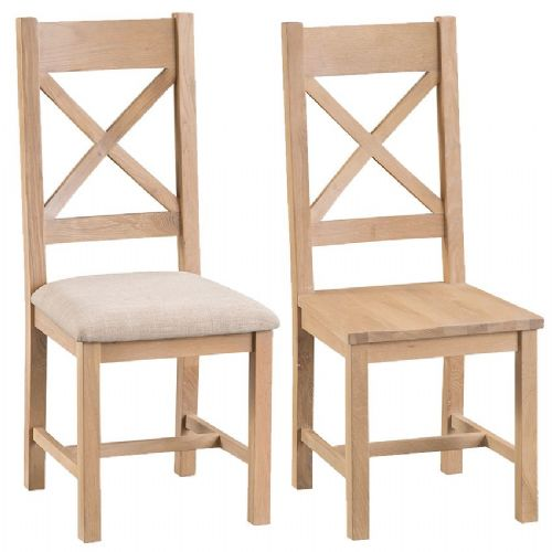 Pair of Lowestoft Oak Cross Back Dining Chairs